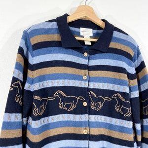 VTG Horses Knit Sweater Cardigan Striped Size M